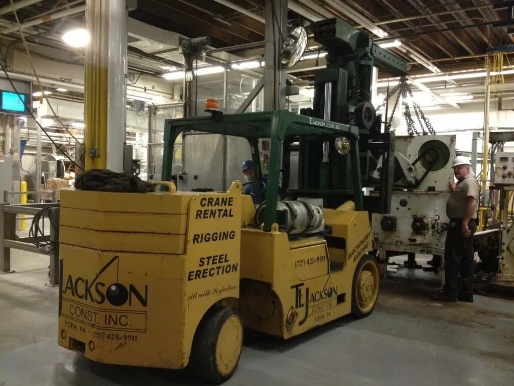 Rigging and millwright services at T.L. Jackson Construction, Inc. in York, PA